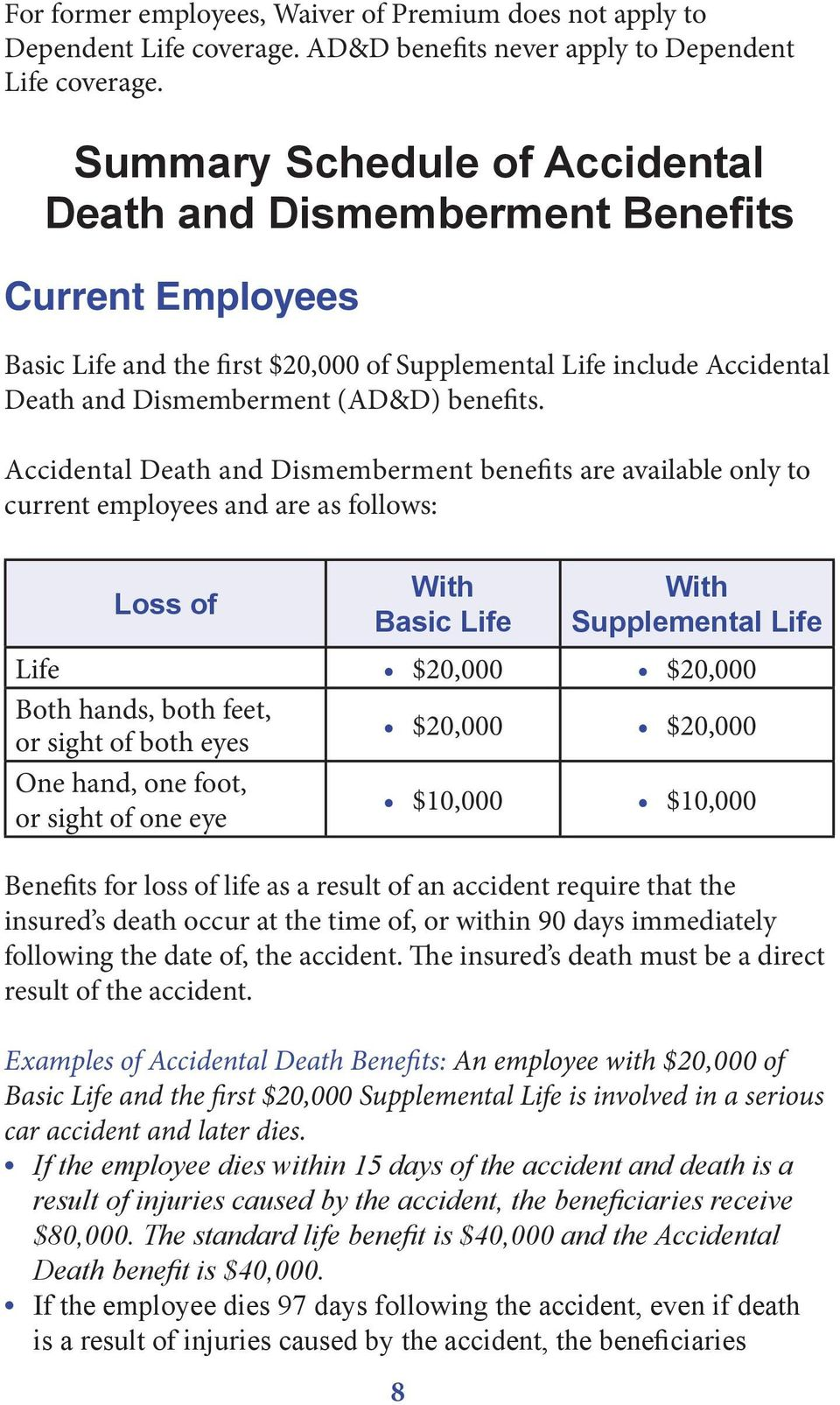 Accidental Death and Dismemberment benefits are available only to current employees and are as follows: Loss of With Basic Life 8 With Supplemental Life Life $20,000 $20,000 Both hands, both feet, or