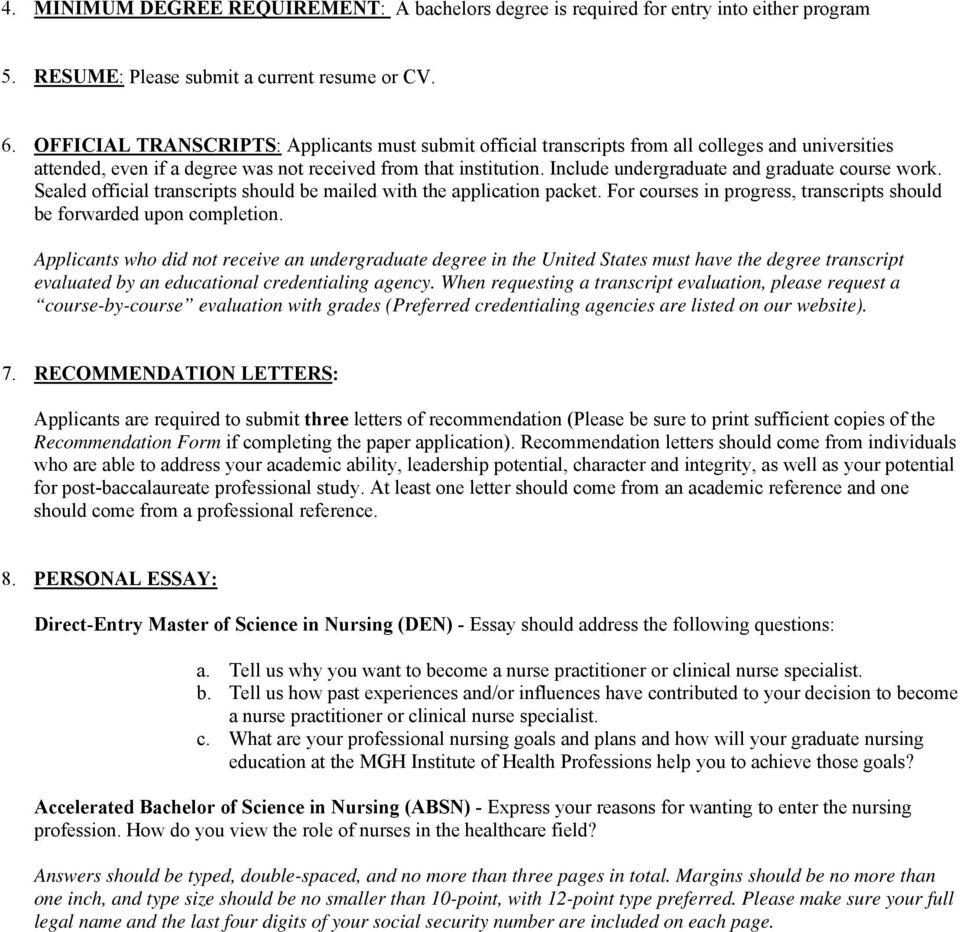 2010 Application Checklist School Of Nursing Entry Level Nursing