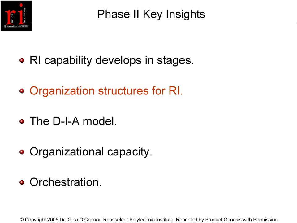 Organization structures for RI.