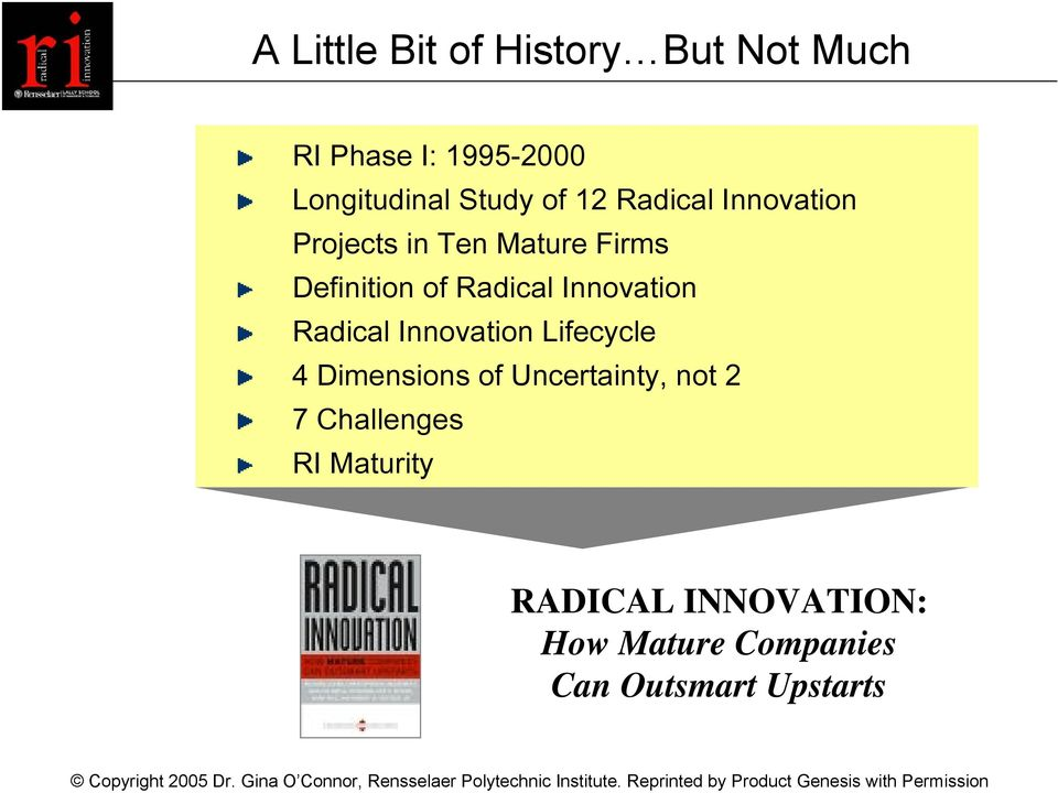 Innovation Radical Innovation Lifecycle 4 Dimensions of Uncertainty, not 2 7