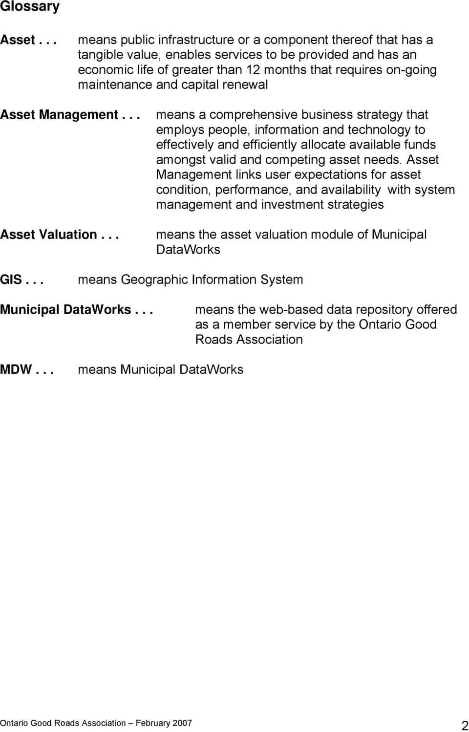 and capital renewal Asset Management... Asset Valuation.