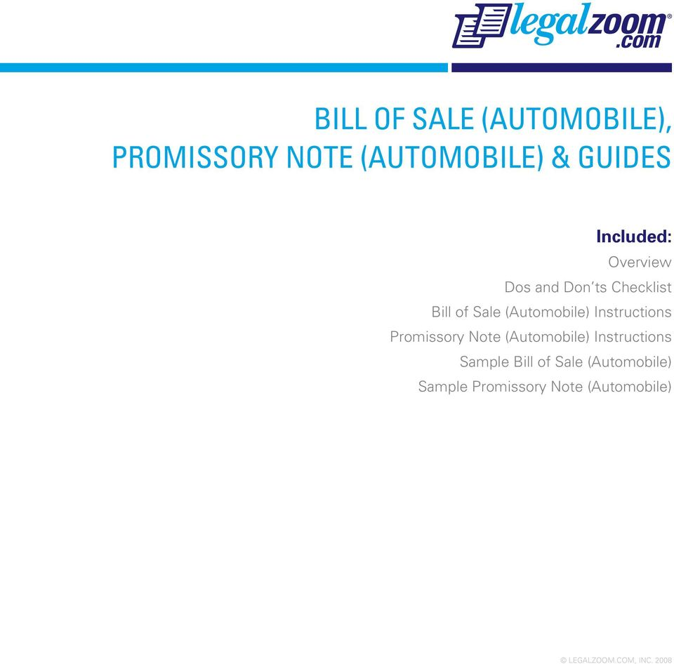 (Automobile) Instructions Promissory Note (Automobile)