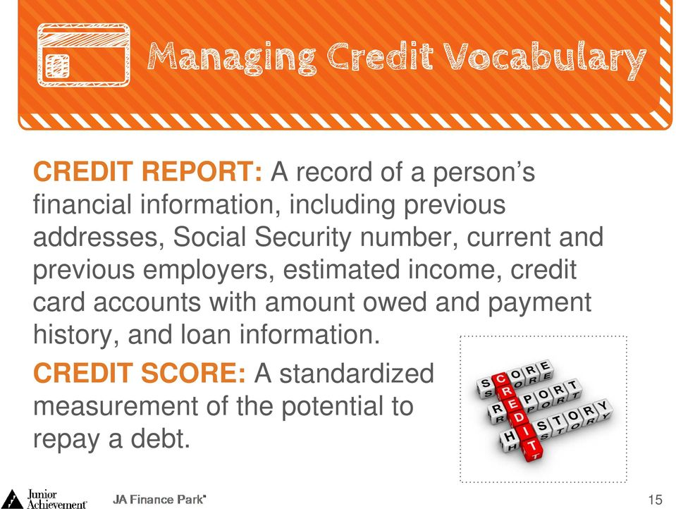 income, credit card accounts with amount owed and payment history, and loan