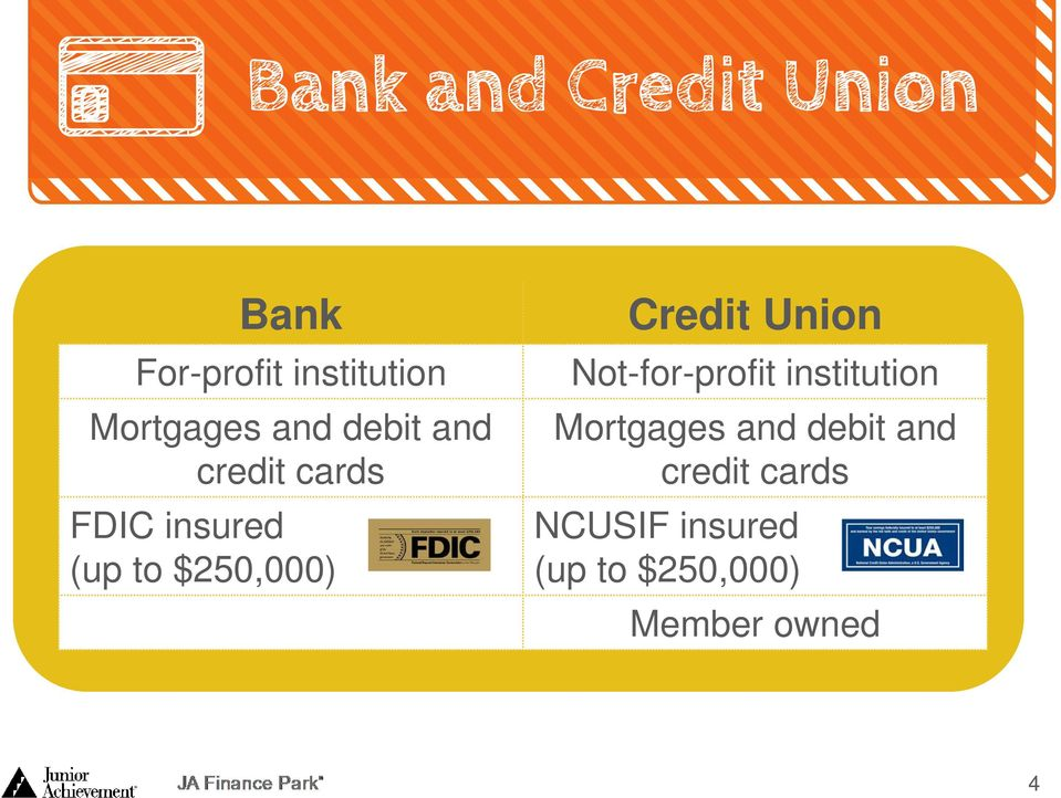 Union Not-for-profit institution Mortgages and debit