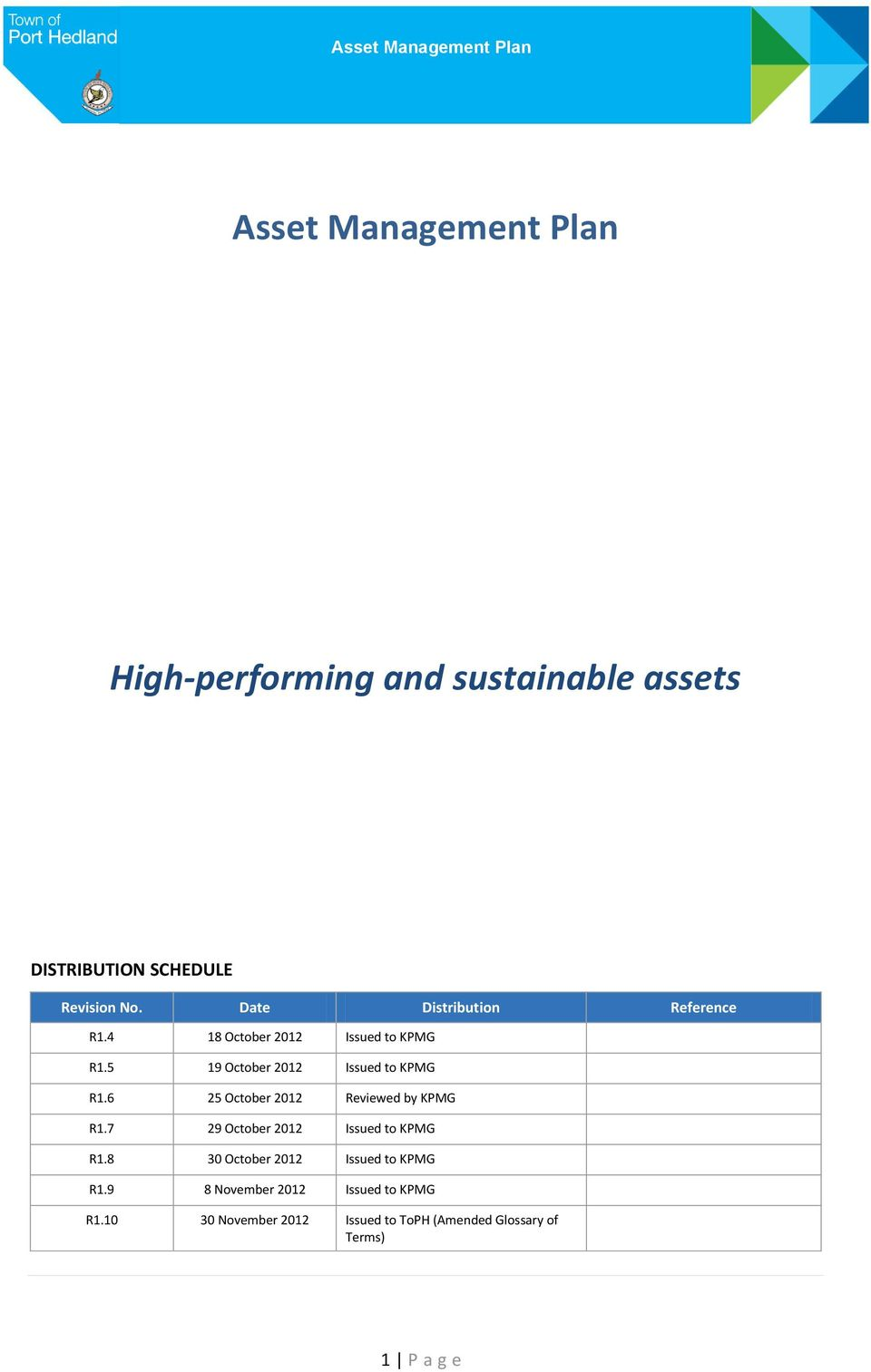 6 25 October 2012 Reviewed by KPMG R1.7 29 October 2012 Issued to KPMG R1.