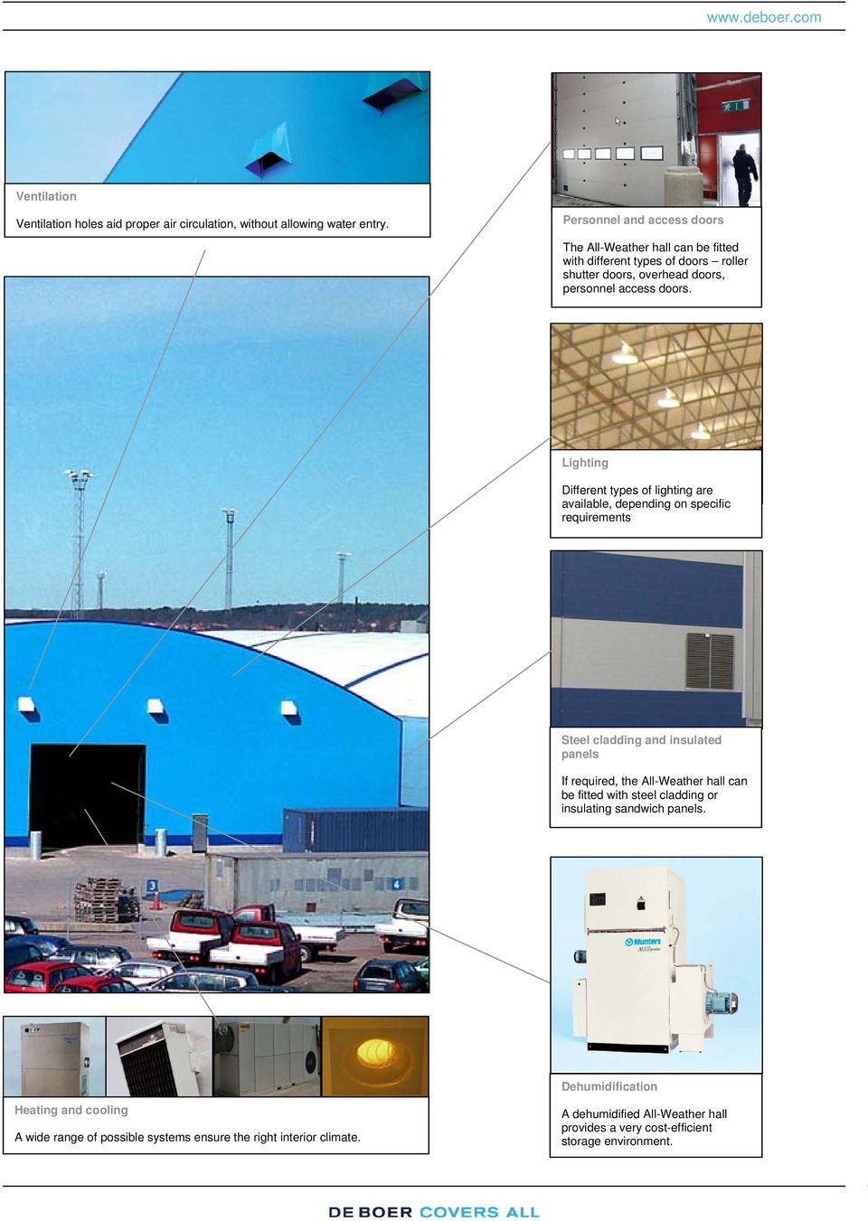 Lighting Different types of lighting are available, depending on specific requirements Steel cladding and insulated panels If required, the All-Weather hall can be