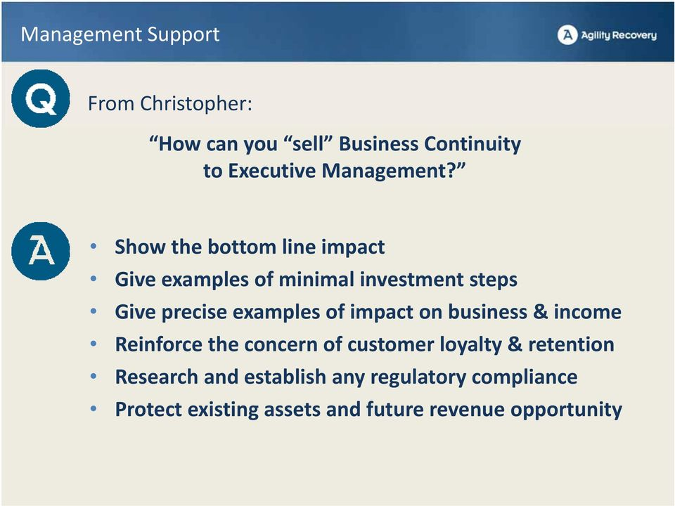 Show the bottom line impact Give examples of minimal investment steps Give precise examples of