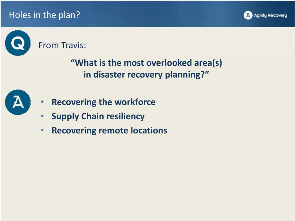 area(s) in disaster recovery planning?