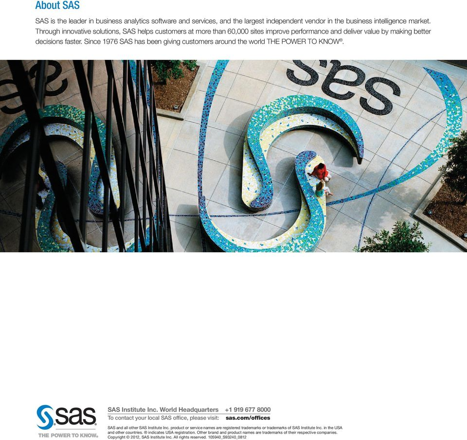 Since 1976 SAS has been giving customers around the world THE POWER TO KNOW. SAS Institute Inc. World Headquarters +1 919 677 8000 To contact your local SAS office, please visit: sas.