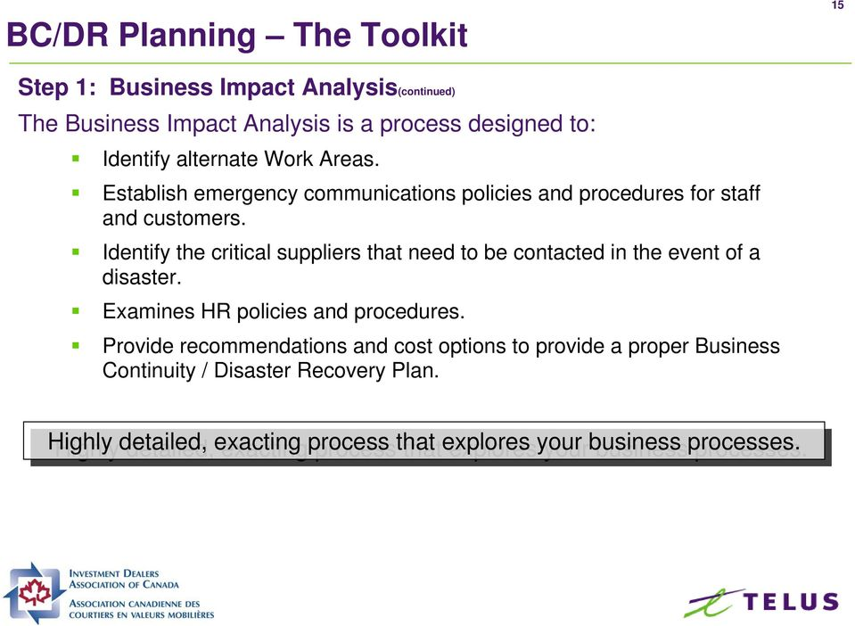 Identify the critical suppliers that need to be contacted in the event of a disaster. Examines HR policies and procedures.