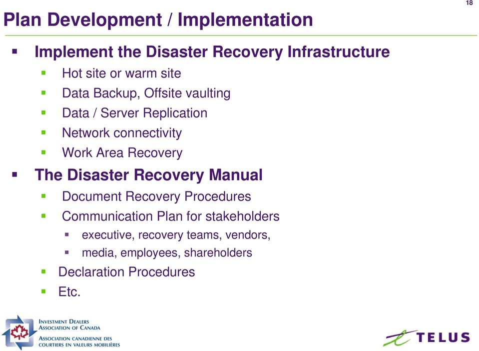 Recovery The Disaster Recovery Manual Document Recovery Procedures Communication Plan for