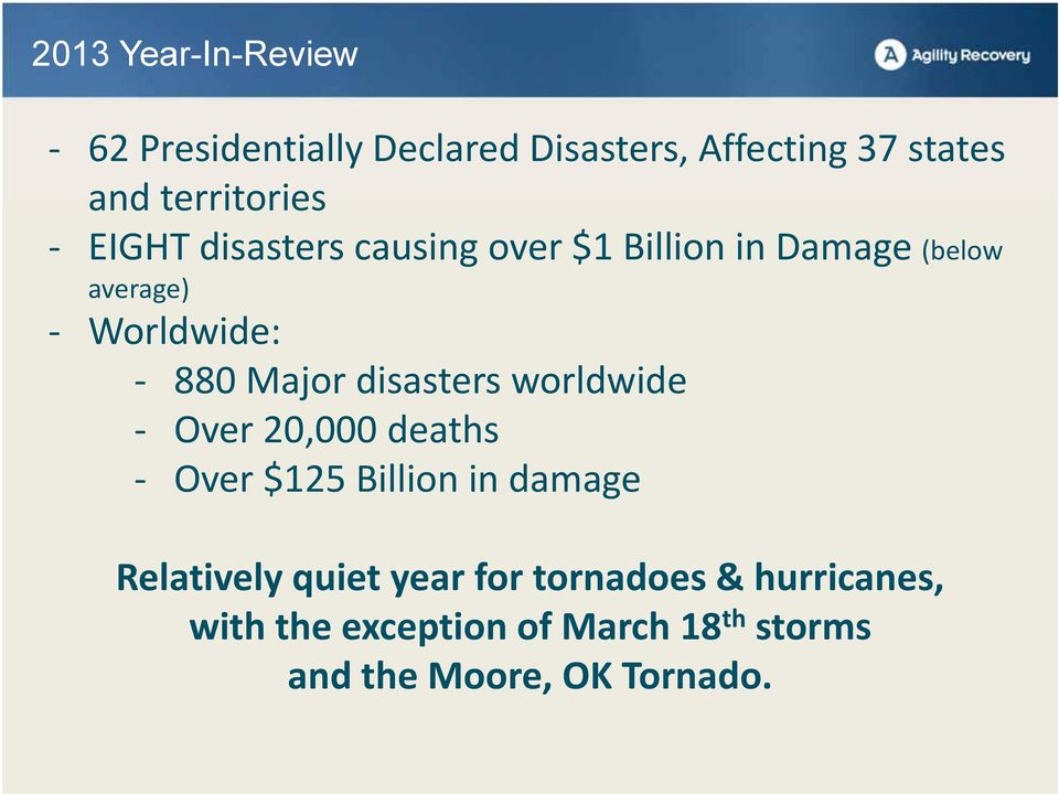 880 Major disasters worldwide Over 20,000 deaths Over $125 Billion in damage Relatively