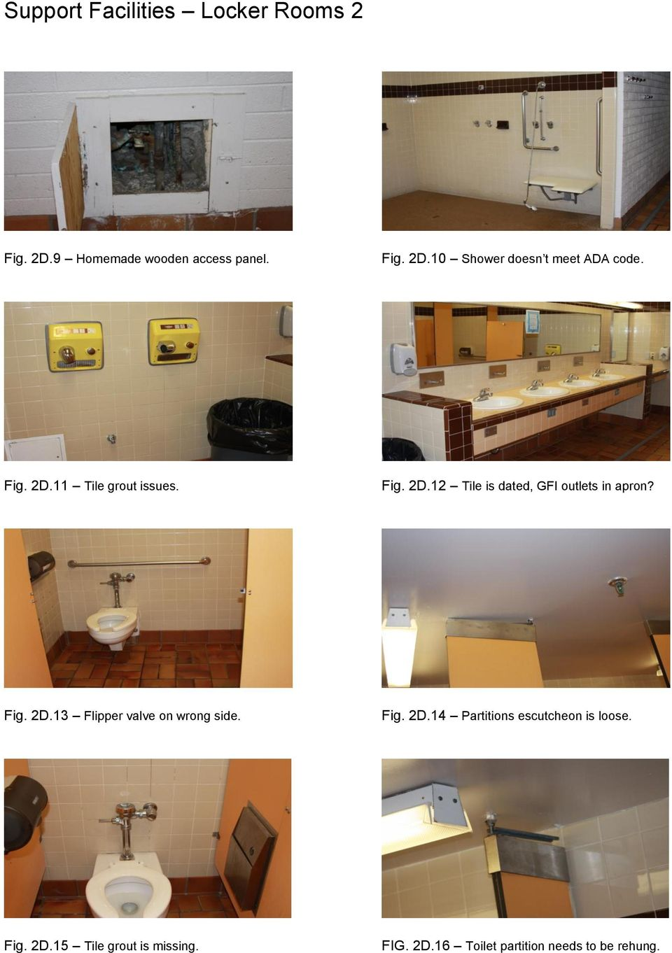 Fig. 2D.14 Partitions escutcheon is loose. Fig. 2D.15 Tile grout is missing. FIG. 2D.16 Toilet partition needs to be rehung.
