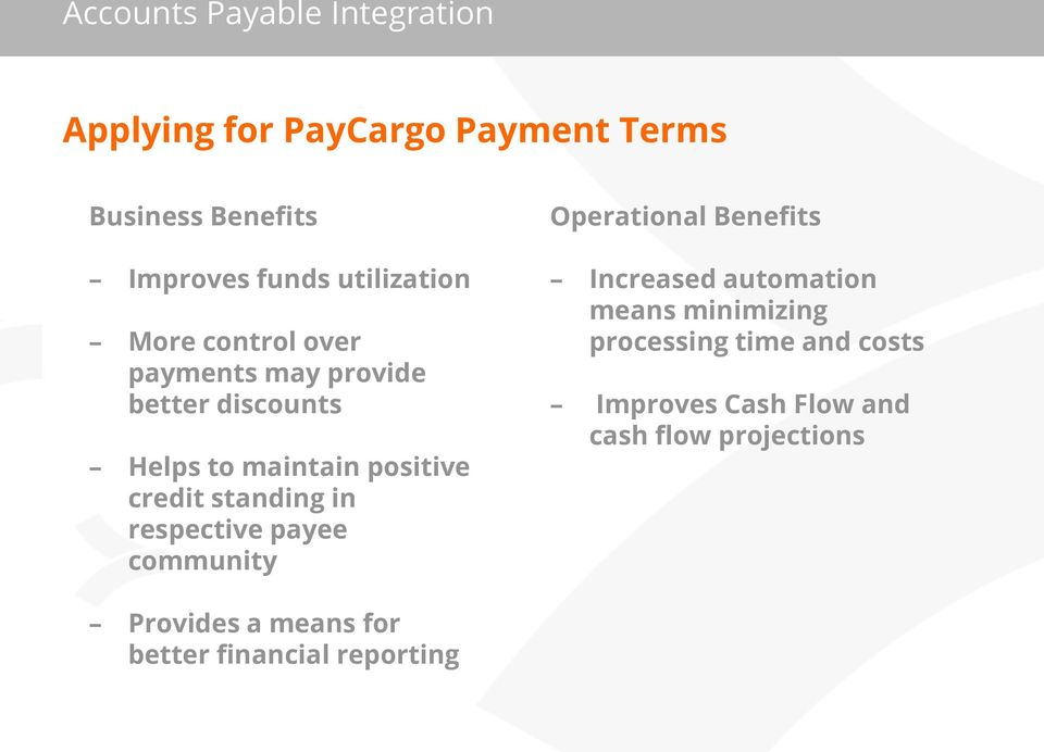 respective payee community Increased automation means minimizing processing time and