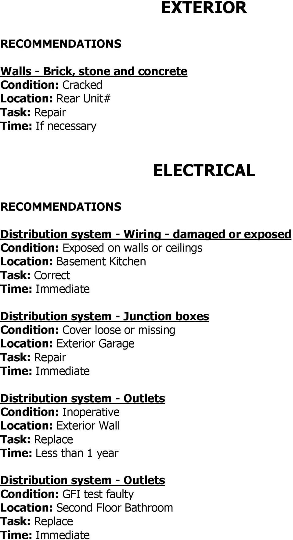 Junction boxes Condition: Cover loose or missing Location: Exterior Garage Distribution system - Outlets Condition: Inoperative