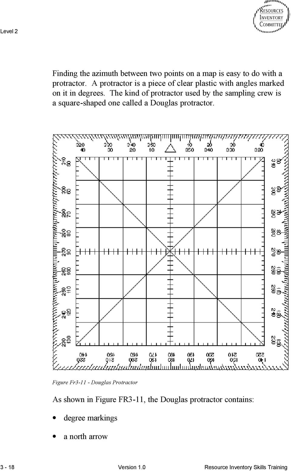 The kind of protractor used by the sampling crew is a square-shaped one called a Douglas protractor.