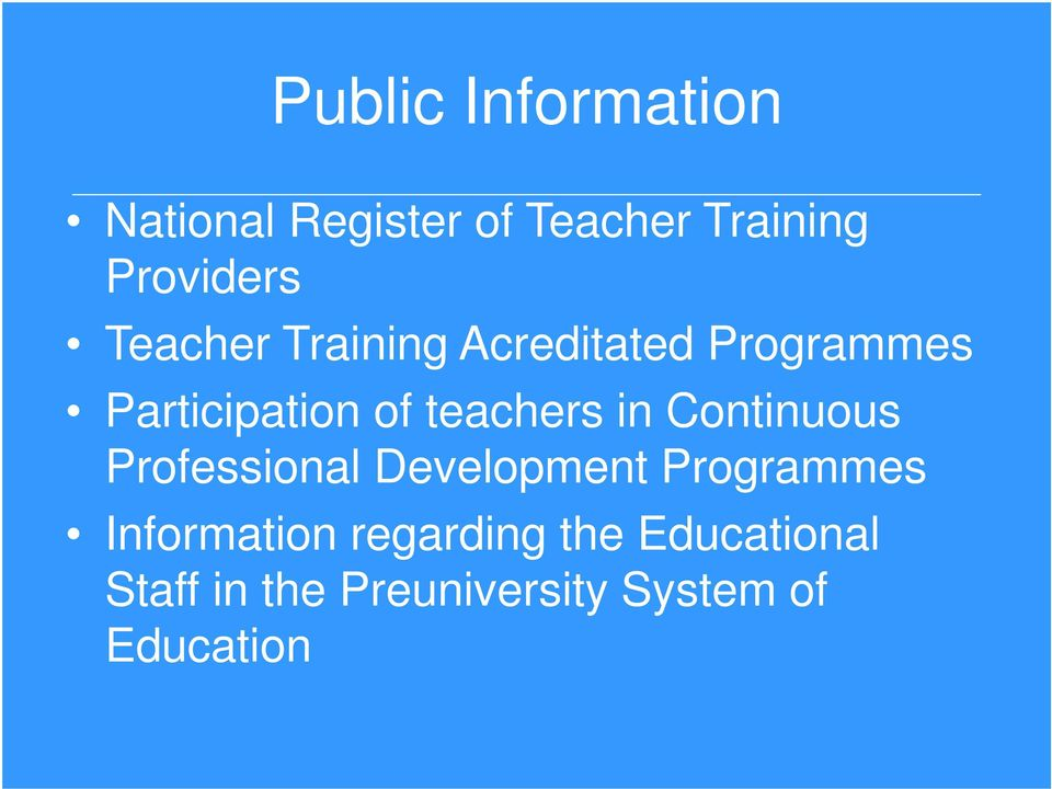 in Continuous Professional Development Programmes Information