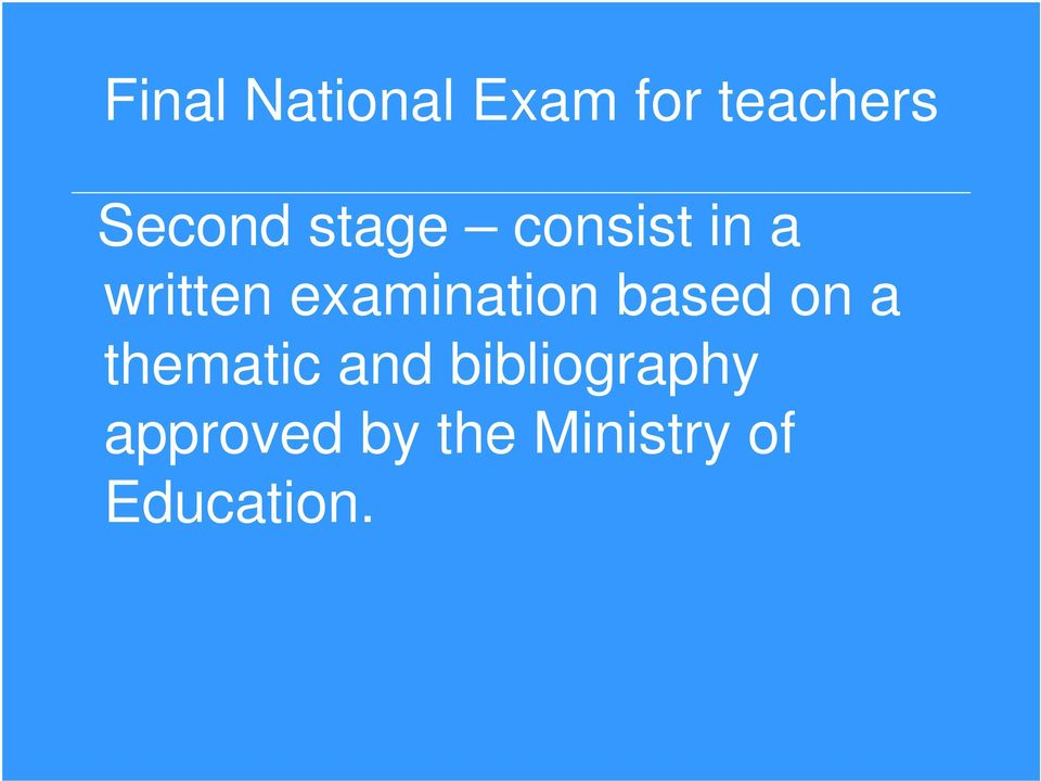 examination based on a thematic and
