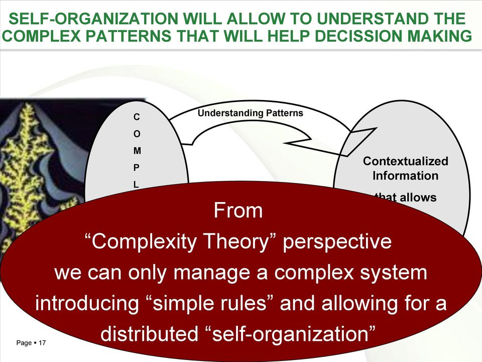 allows Decision Making and Action X I Complexity Theory perspective T Y we can only