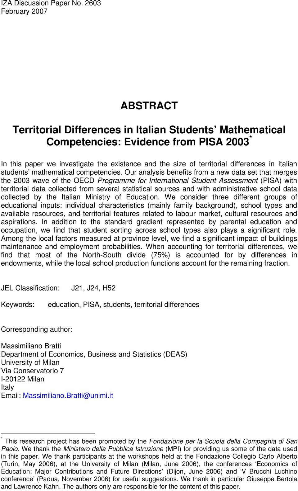 differences in Italian students mathematical competencies.