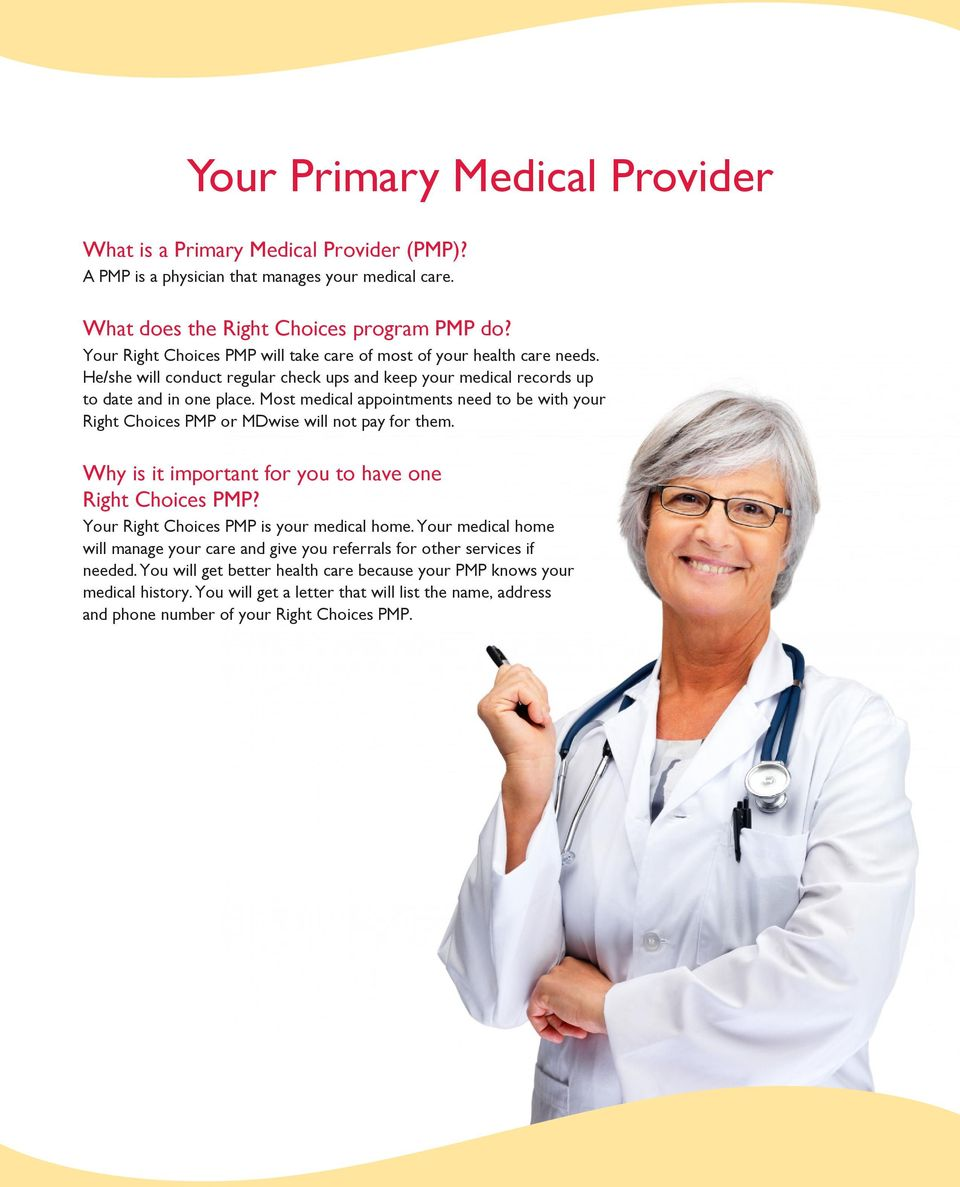 Most medical appointments need to be with your Right Choices PMP or MDwise will not pay for them. Why is it important for you to have one Right Choices PMP?