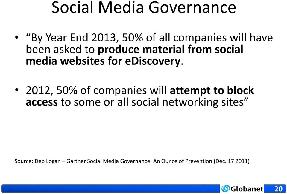 2012, 50% of companies will attempt to block access to some or all social