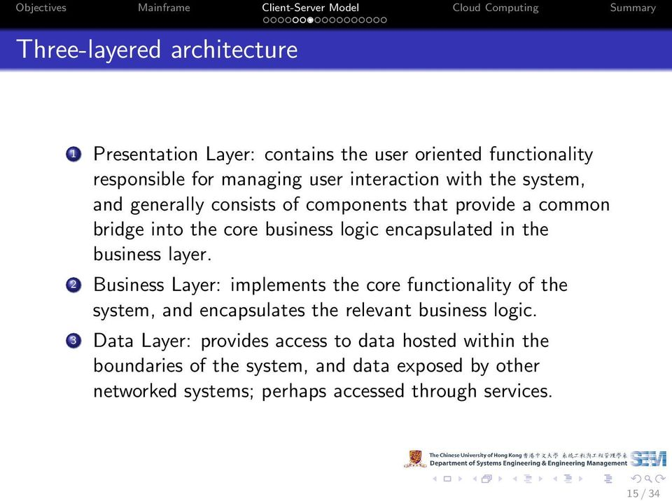 2 Business Layer: implements the core functionality of the system, and encapsulates the relevant business logic.