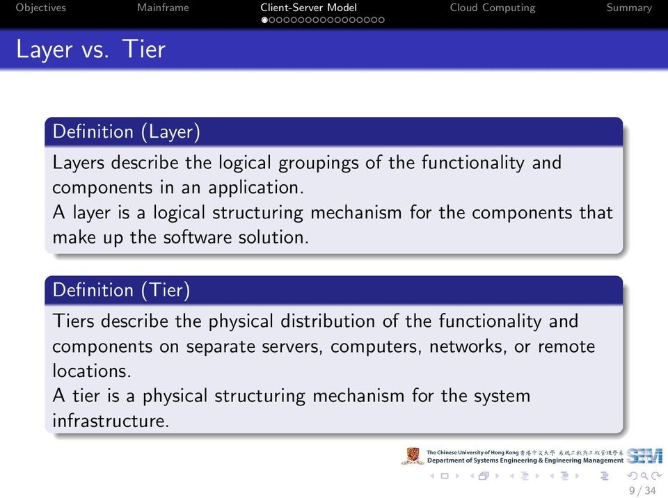 A layer is a logical structuring mechanism for the components that make up the software solution.