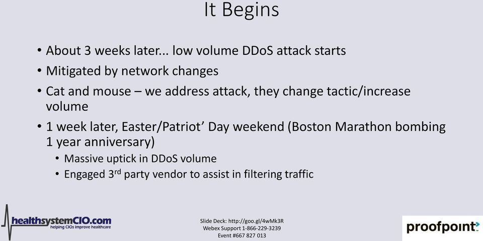 address attack, they change tactic/increase volume 1 week later, Easter/Patriot