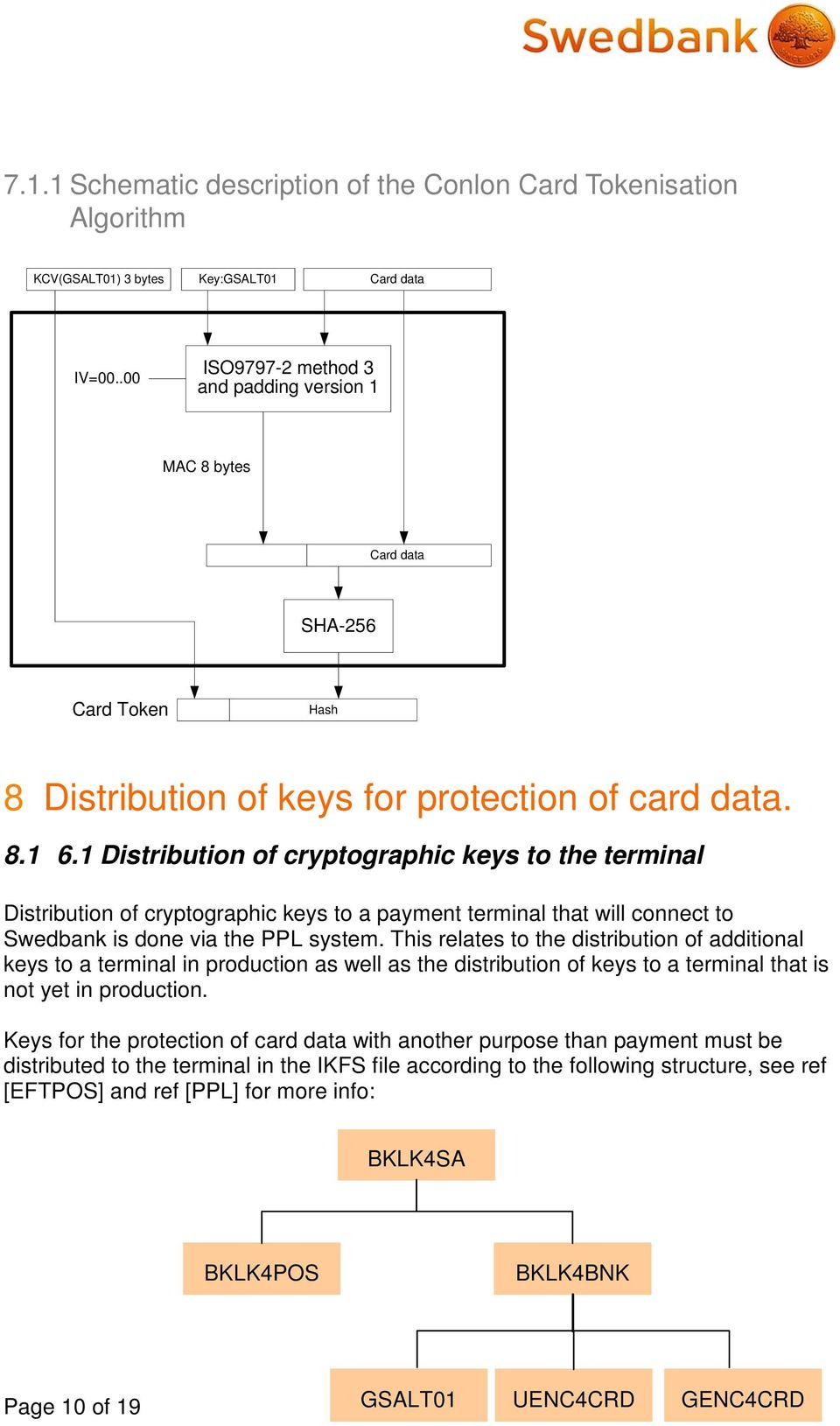 1 Distribution of cryptographic keys to the terminal Distribution of cryptographic keys to a payment terminal that will connect to Swedbank is done via the PPL system.