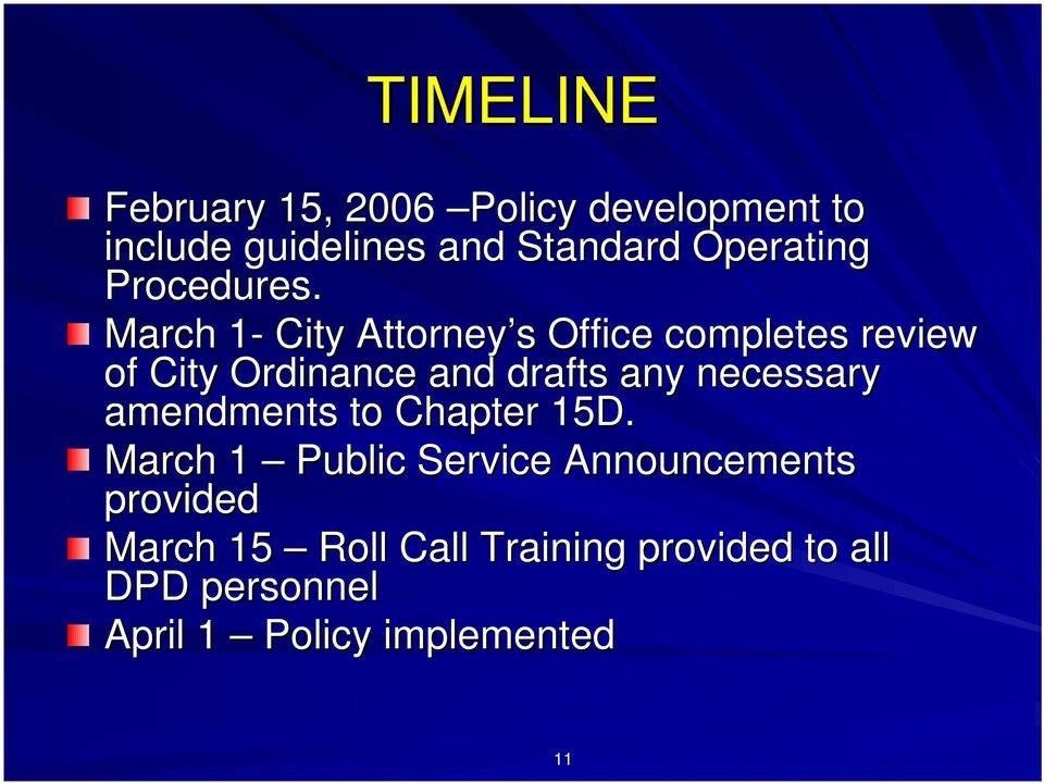March 1-1 City Attorney s s Office completes review of City Ordinance and drafts any