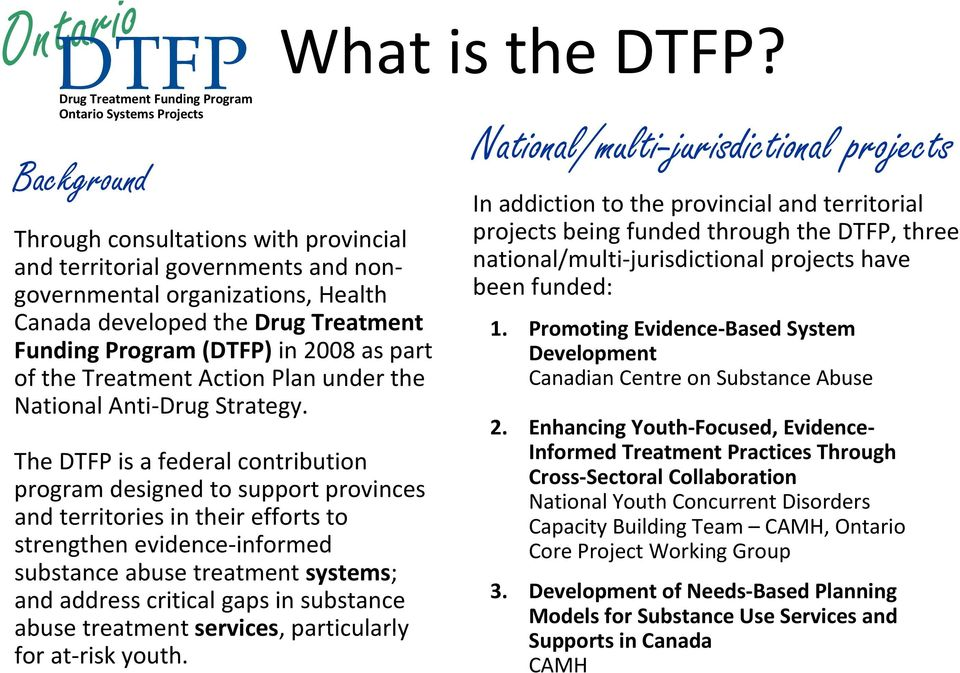 The is a federal contribution program designed to support provinces and territories in their efforts to strengthen evidence informed substance abuse treatment systems; and address critical gaps in