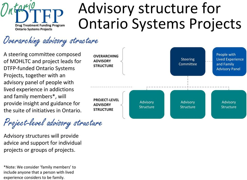 Project-level advisory structure Advisory structures will provide advice and support for individual projects or groups of projects.