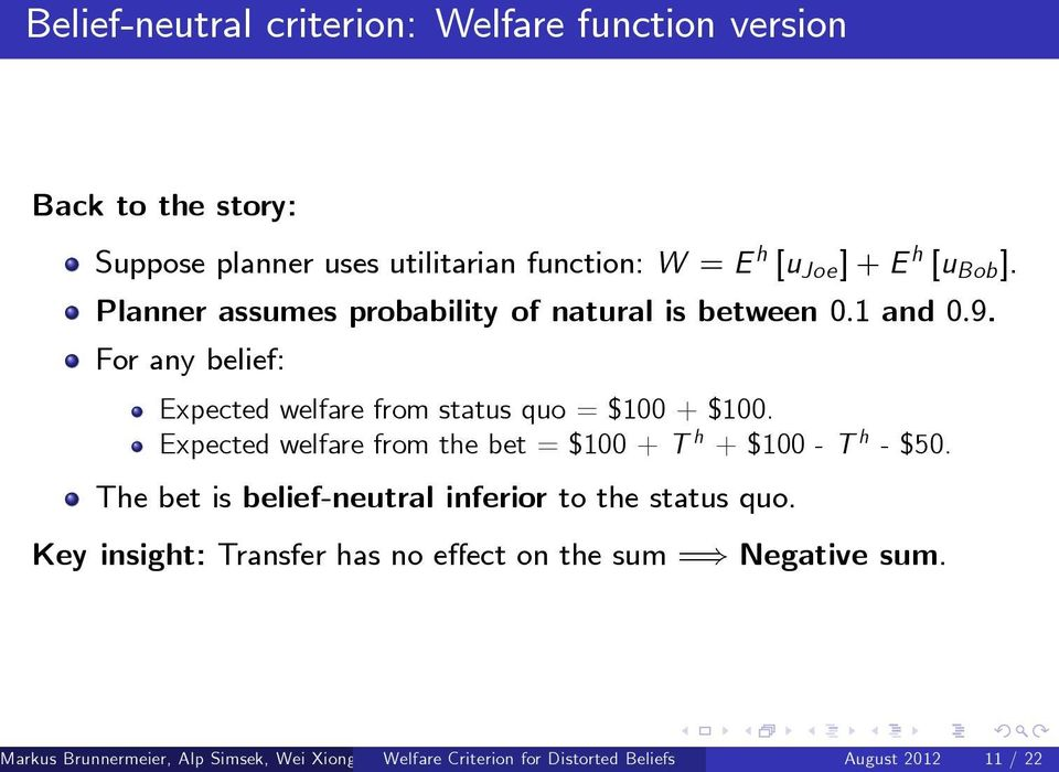 Expected welfare from the bet = $100 + T h + $100 - T h - $50. The bet is belief-neutral inferior to the status quo.