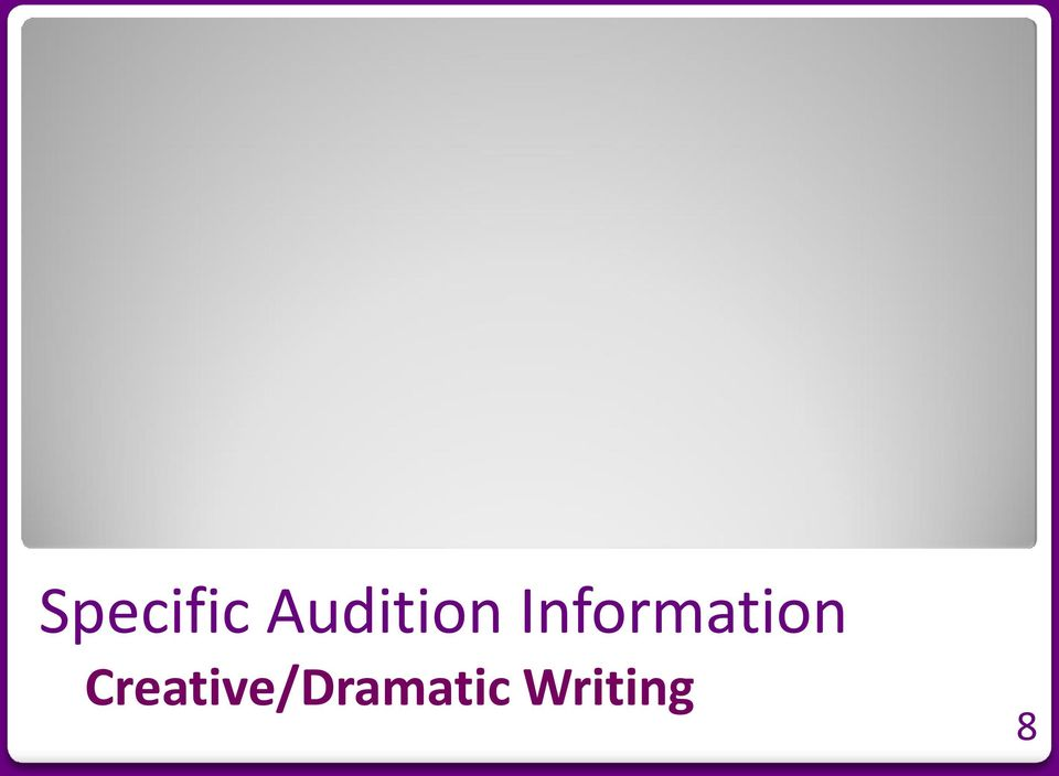 ocsa creative writing audition