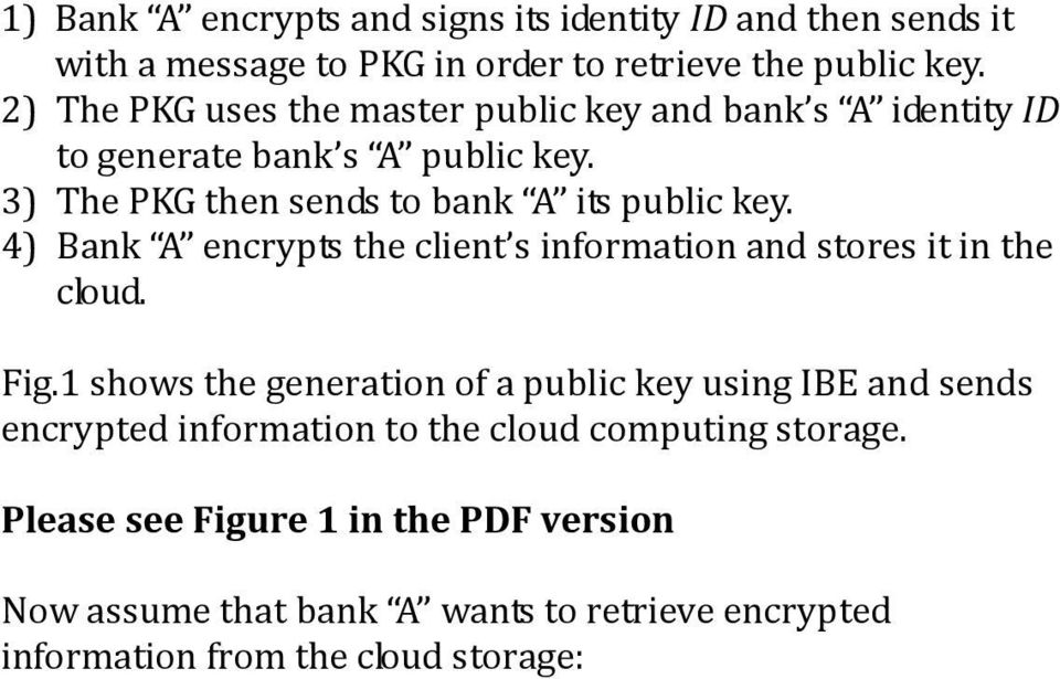 4) Bank A encrypts the client s information and stores it in the cloud. Fig.