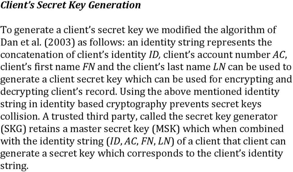 generate a client secret key which can be used for encrypting and decrypting client s record.