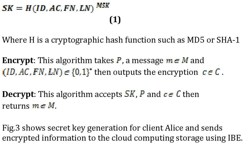 Decrypt: This algorithm accepts, and then returns. Fig.