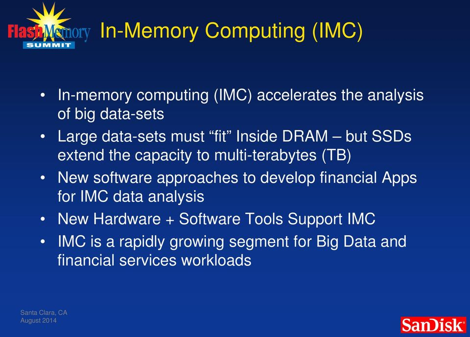 software approaches to develop financial Apps for IMC data analysis New Hardware + Software