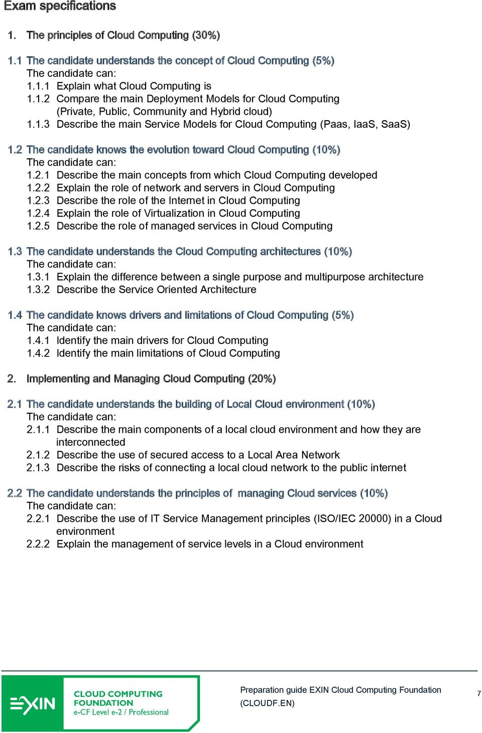 2.2 Explain the role of network and servers in Cloud Computing 1.2.3 Describe the role of the Internet in Cloud Computing 1.2.4 Explain the role of Virtualization in Cloud Computing 1.2.5 Describe the role of managed services in Cloud Computing 1.