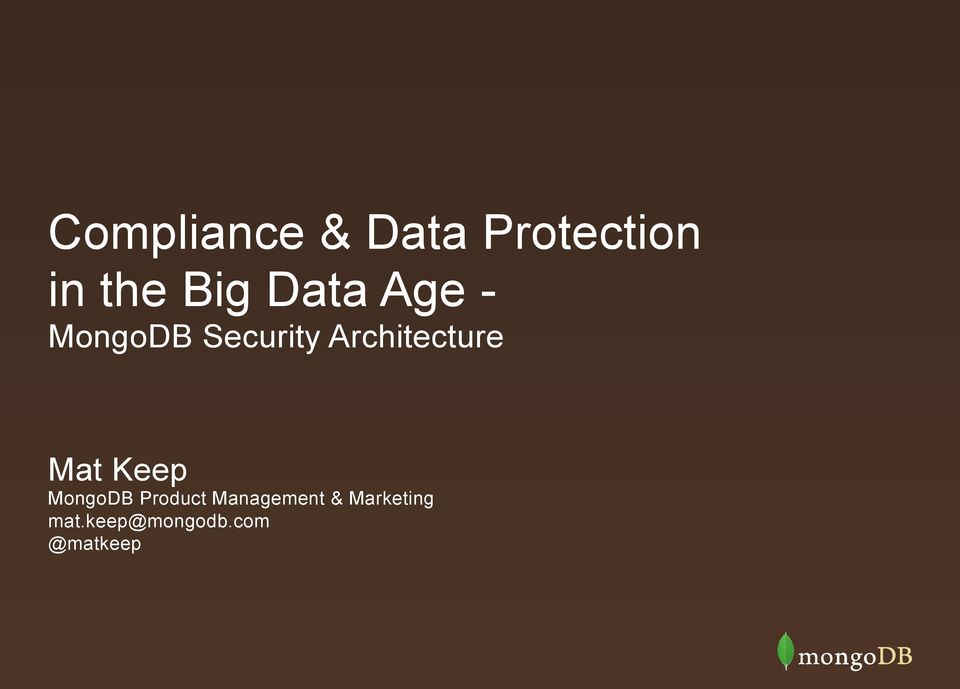 Architecture Mat Keep MongoDB Product