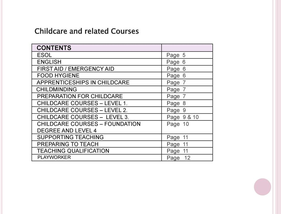 Page 8 CHILDCARE COURSES LEVEL 2. Page 9 CHILDCARE COURSES LEVEL 3.