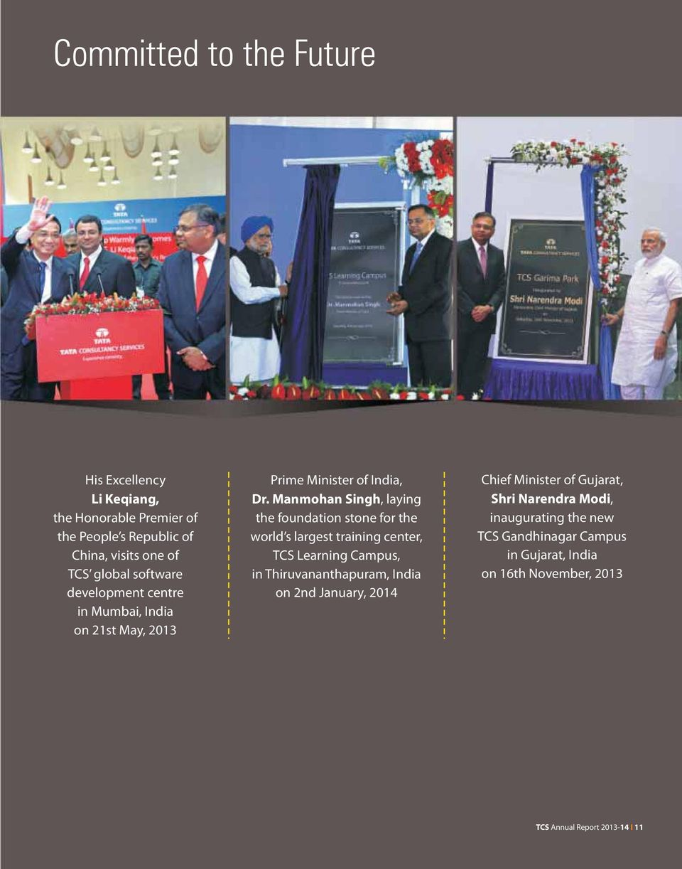 Manmohan Singh, laying the foundation stone for the world s largest training center, TCS Learning Campus, in Thiruvananthapuram, India