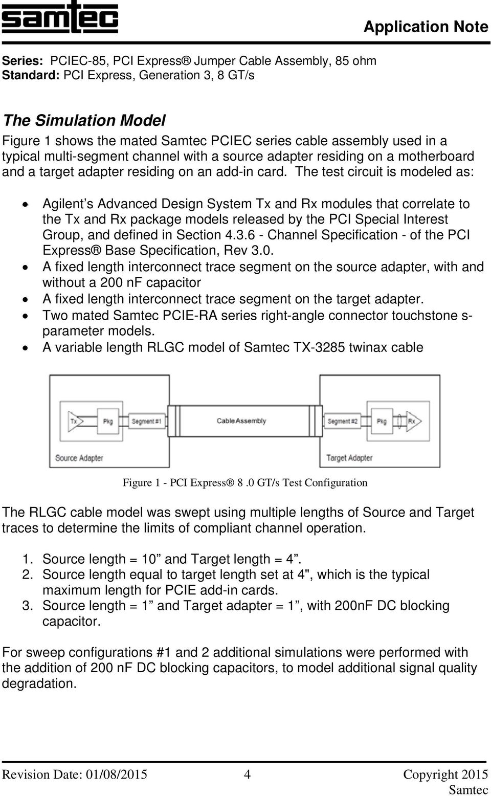 The test circuit is modeled as: Agilent s Advanced Design System Tx and Rx modules that correlate to the Tx and Rx package models released by the PCI Special Interest Group, and defined in Section 4.
