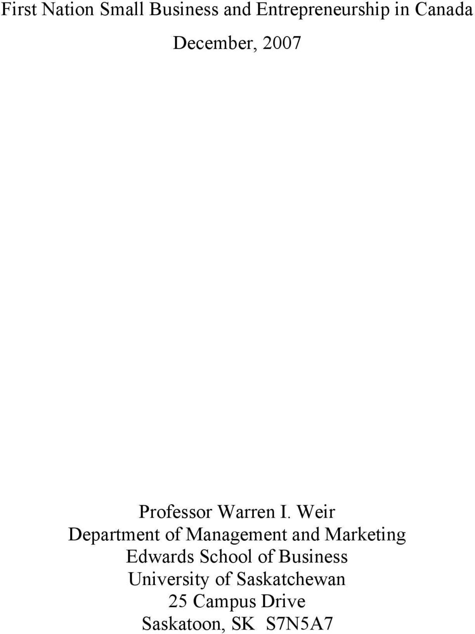 Weir Department of Management and Marketing Edwards