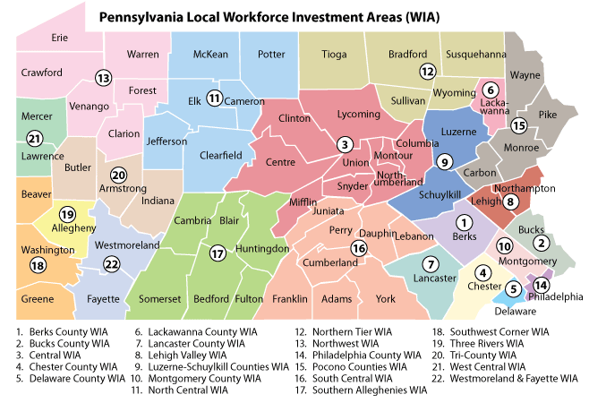 LOCAL WORKFORCE INVESTMENT AREA SOUTH ALLEGHENIES WIA SOUTHWEST CORNER WIA THREE RIVERS WIA TRI-COUNTY WIA Source: Pennsylvania Department of Education 35 COUNTIES Dauphin Franklin Juniata Lebanon