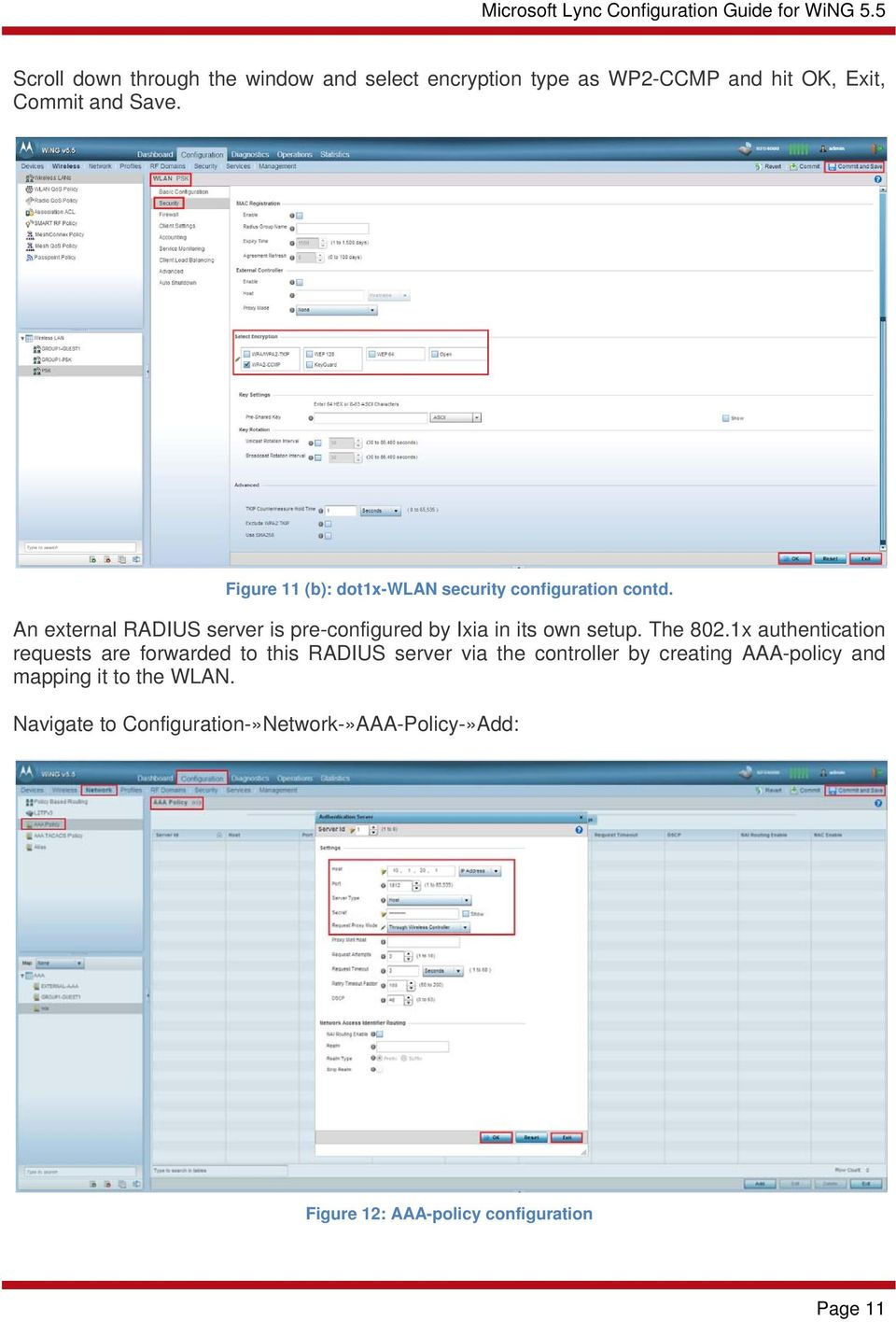 An external RADIUS server is pre-configured by Ixia in its own setup. The 802.