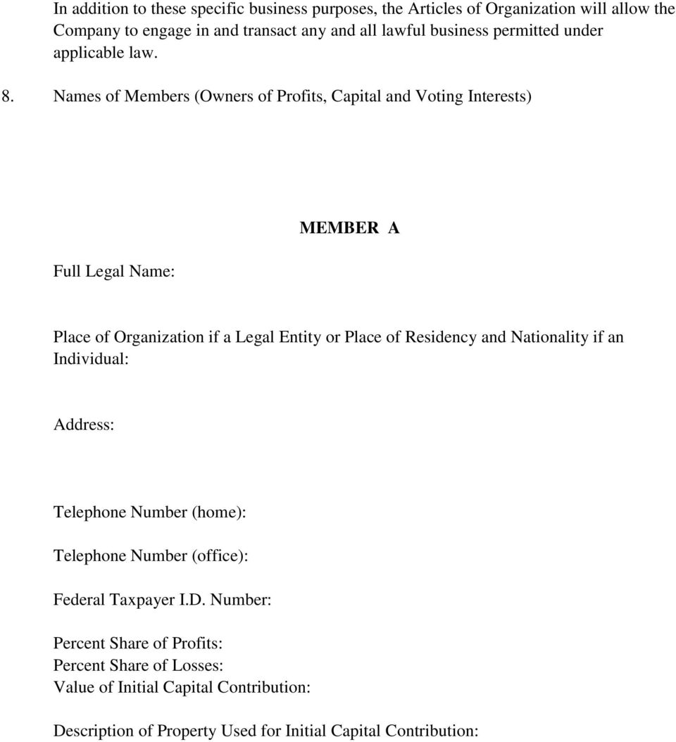 Names of Members (Owners of Profits, Capital and Voting Interests) Full Legal Name: MEMBER A Place of Organization if a Legal Entity or Place of Residency