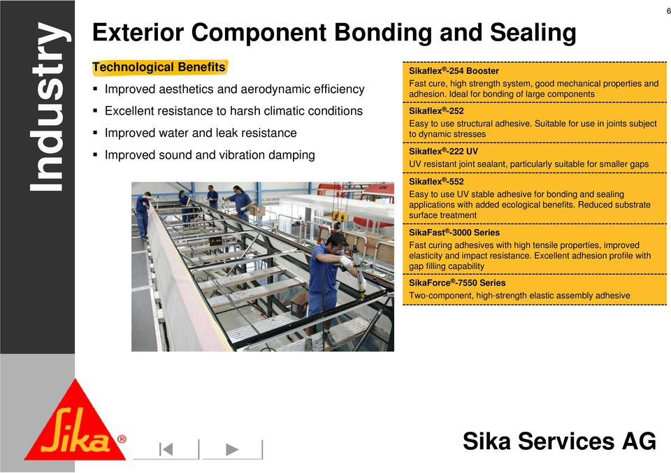 Ideal for bonding of large components Sikaflex -252 Easy to use structural adhesive.