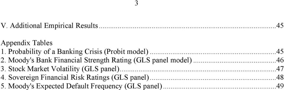 Moody's Bank Financial Strength Rating (GLS panel model)...46 3.